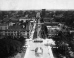 Looking north from the State House Dome, streetcar at Main and Gervais, City Hall and Opera House visible